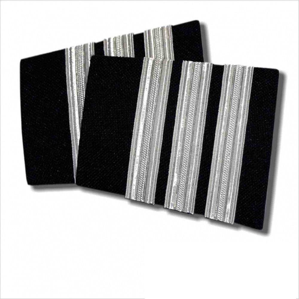 Black Epaulet - 3 Bar Silver