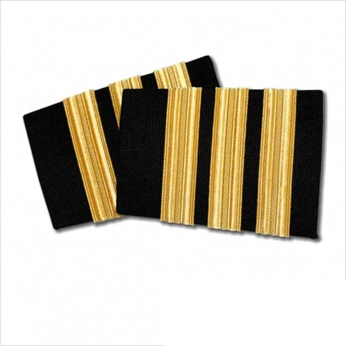 Black Epaulet - 3 Bar Gold